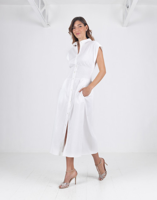 Poplin dress with strech waistband