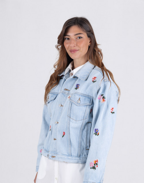 Light denim jacket with flower detail