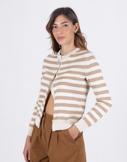 Striped cardigan in shaved cotton