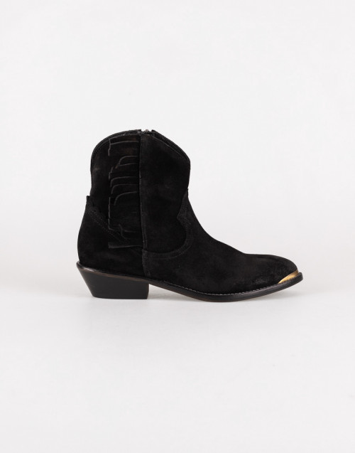 Black suede Texan ankle boot