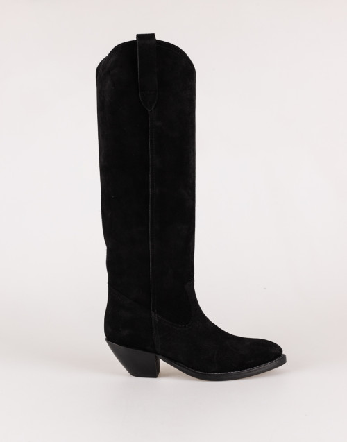 Black suede Texan boot