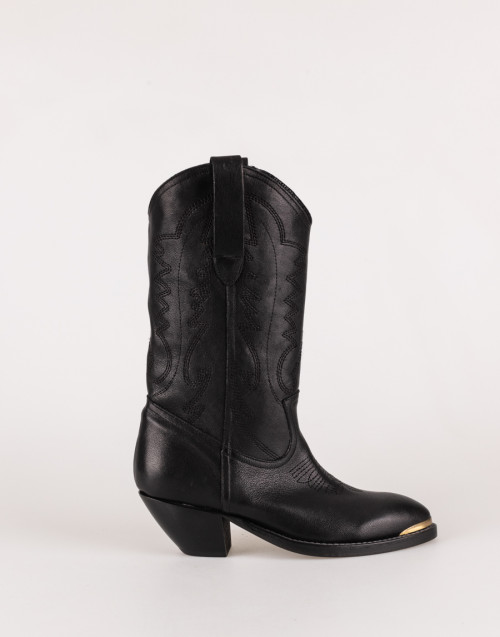 Black Texan boot with gold toe