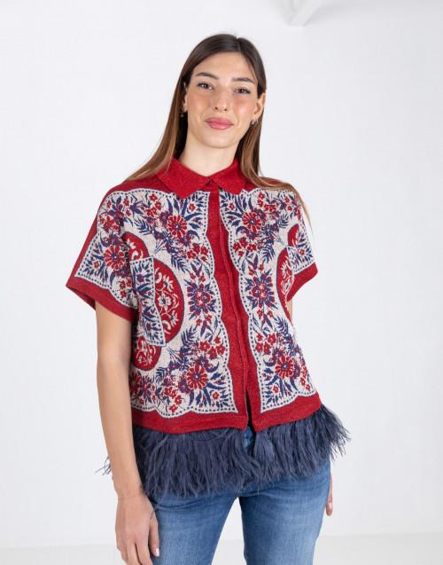 Giacca foulard rosso con fondo marabù