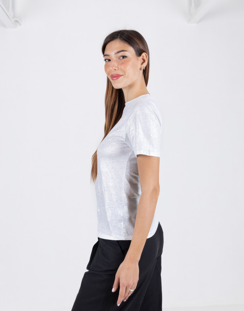Silver coated linen T-shirt