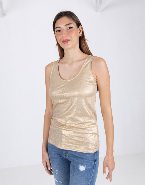 Gold coated linen tank top