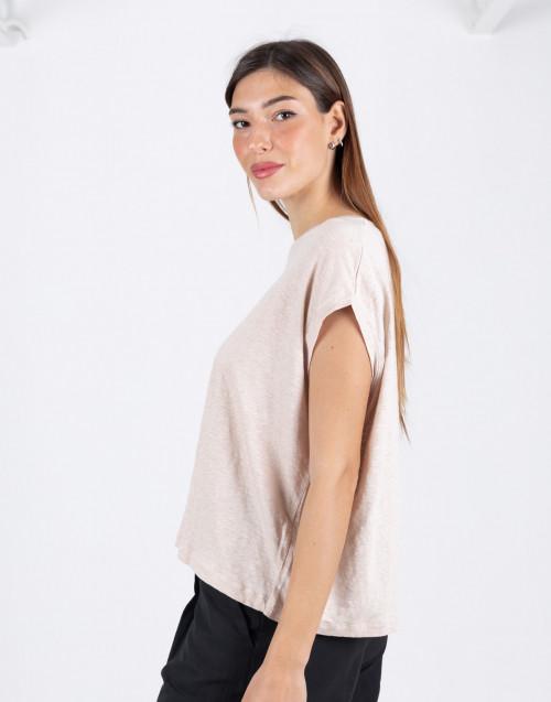 T-shirt beige smanicata