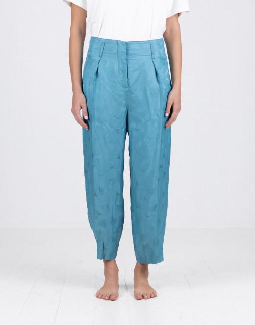 Pantalone azzurro in viscosa
