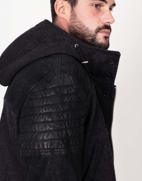 Leather and wool jacket with hood