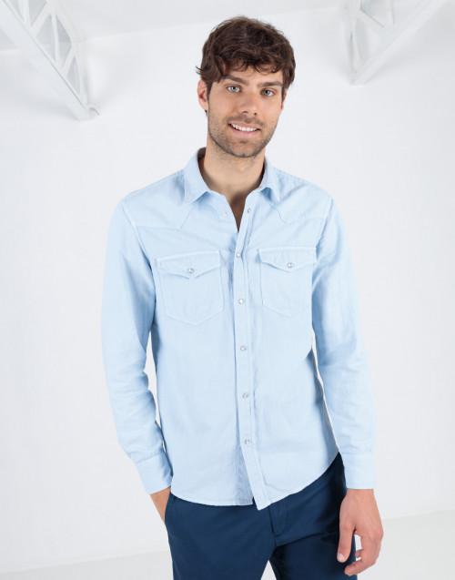 Light blue texan shirt in cotton linen blend