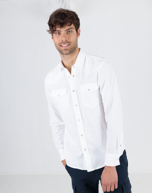 White texan shirt in cotton linen blend