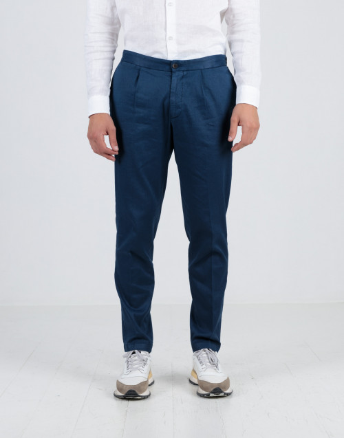 Blue trousers with drawstring