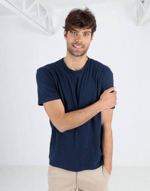 Blue cotton linen blend t-shirt