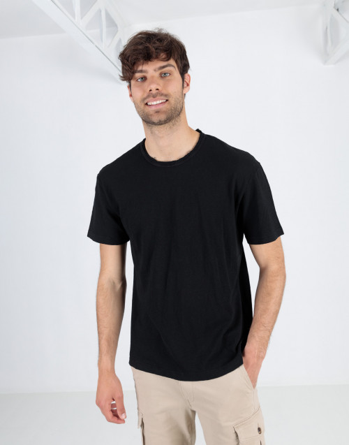 Black cotton linen blend t-shirt