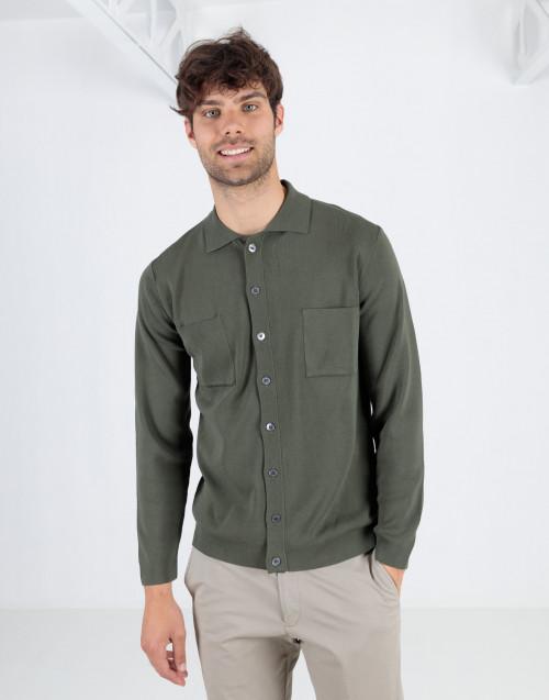 Green shirt jacket with pockets