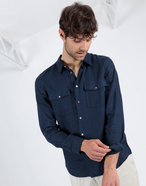 Blue linen shirt with pockets