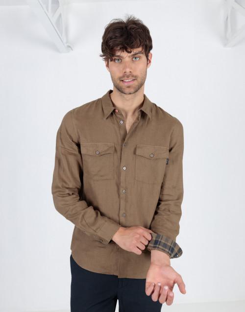 Kaki linen shirt with pockets