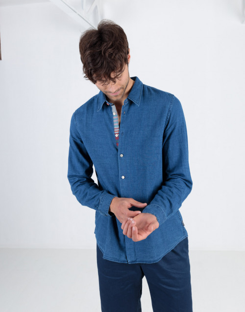 Denim blue shirt with selvedge detail