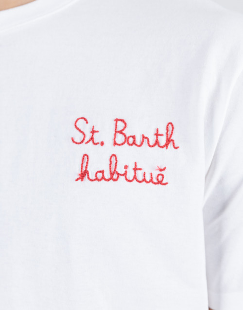"""White t-shirt with """"St. Barth habituè"""" embroidery"""