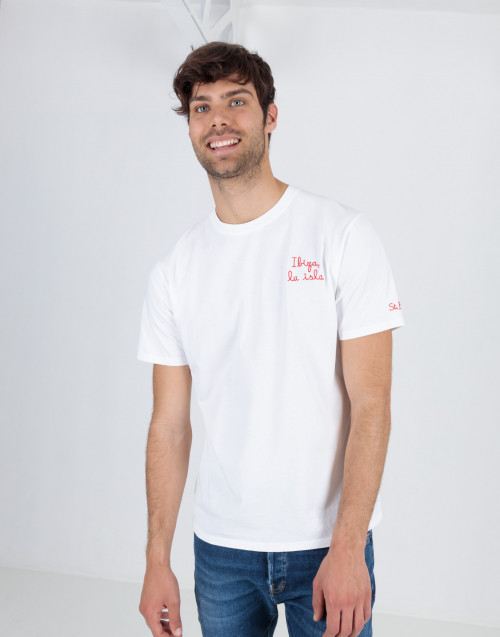 "White T-shirt with ""Ibiza la Isla"" embroidery"