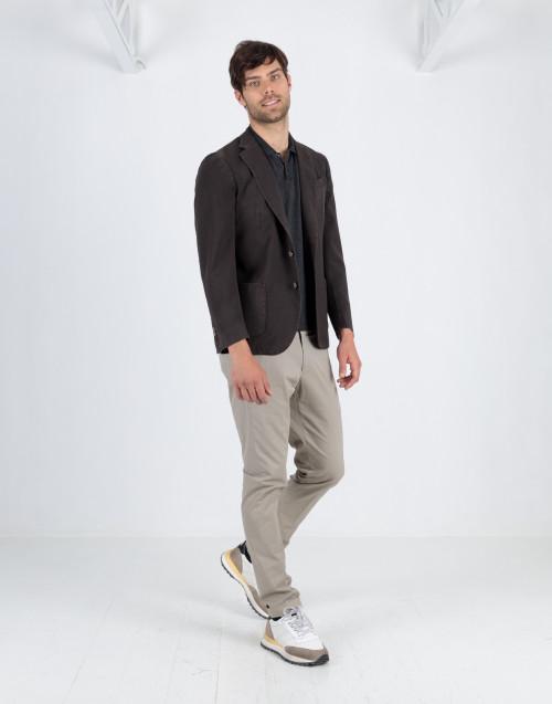 Pantalone chino sabbia in gabardina di cotone