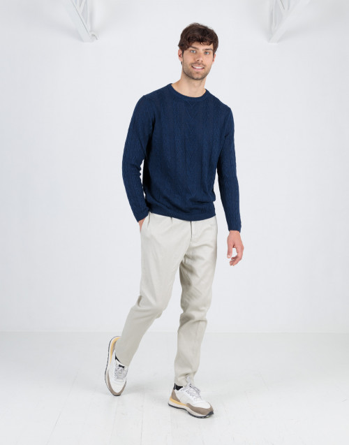 Ice color linen and cotton trousers