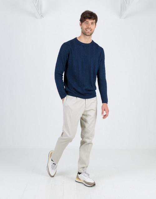 Pantalone color ghiaccio in lino e cotone