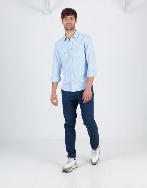 Blue chino trousers in cotton gabardine