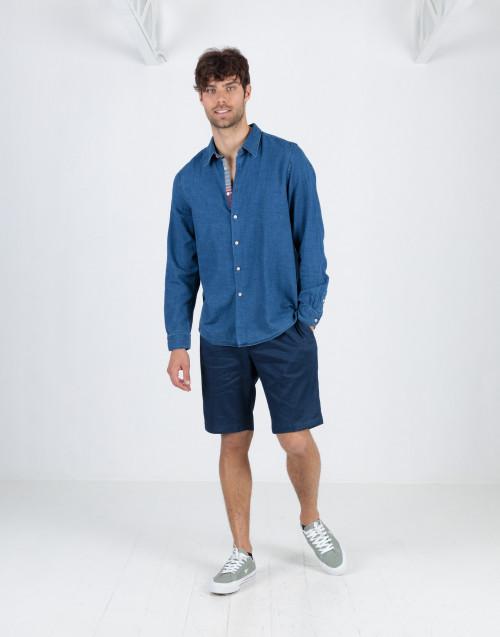 Bermuda blu in lino e cotone