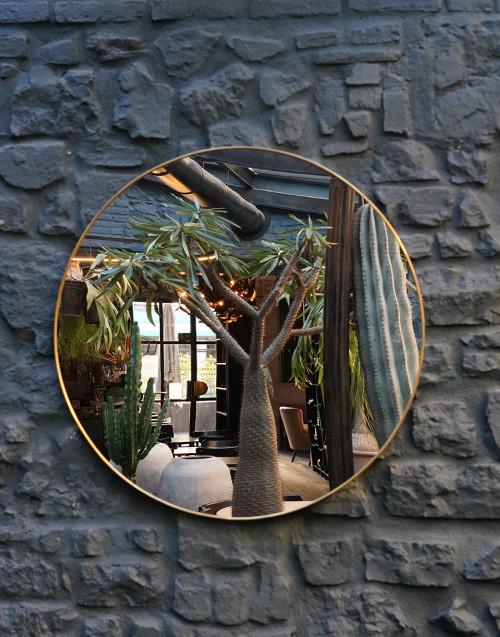 Specchio rotondo in ottone