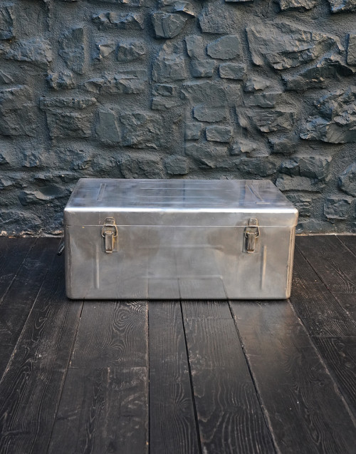 Large trunk suitcase in aluminum