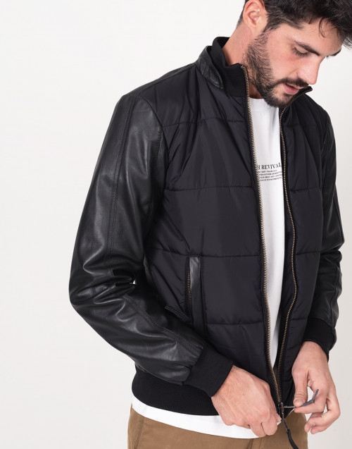 Black leather and nylon bomber