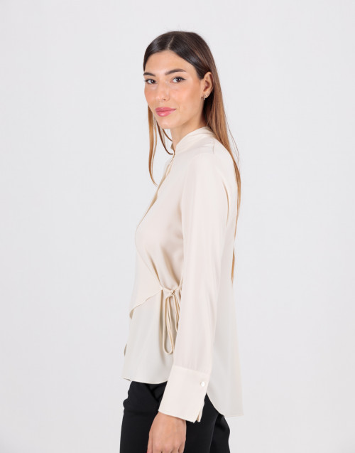 Ecru viscose wrap shirt
