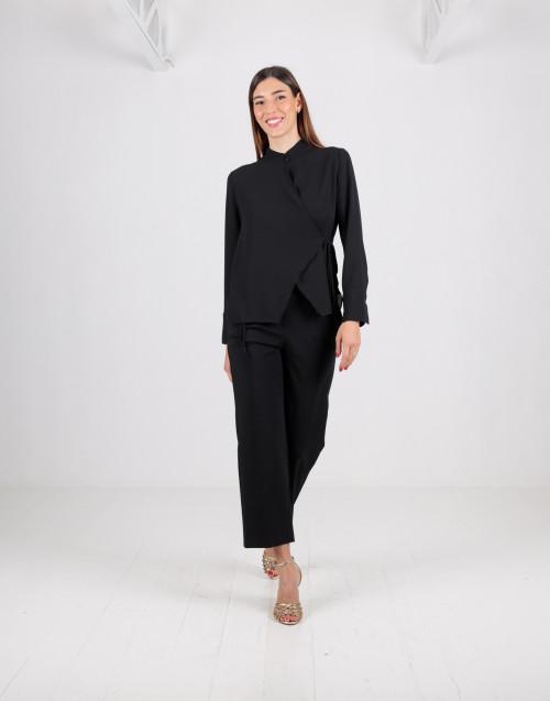 Camicia nera a portafoglio in viscosa