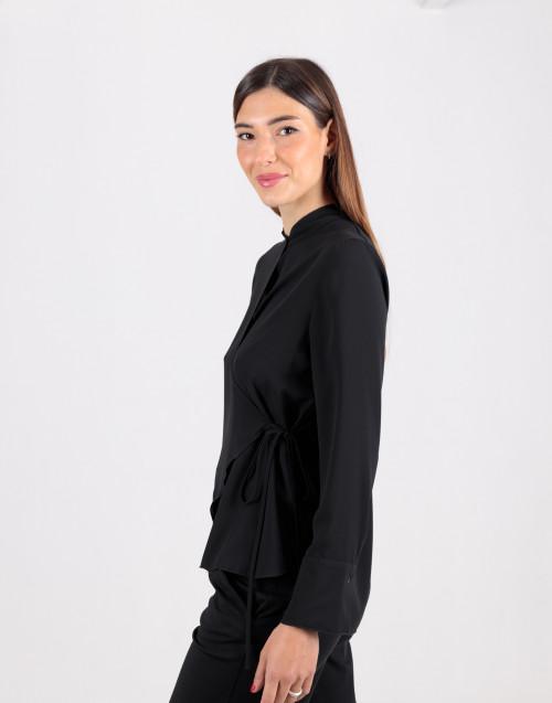 Black viscose wrap shirt