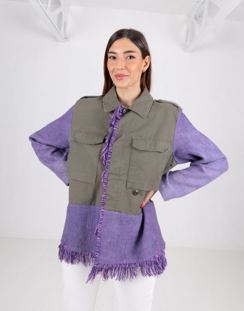 Purple green military jacket with fringes