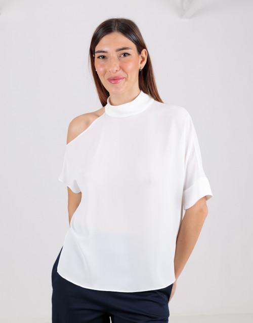 Top bianco asimmetrico