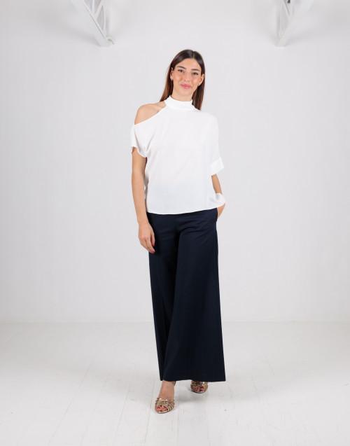 Pantalone blu a campana in cotone