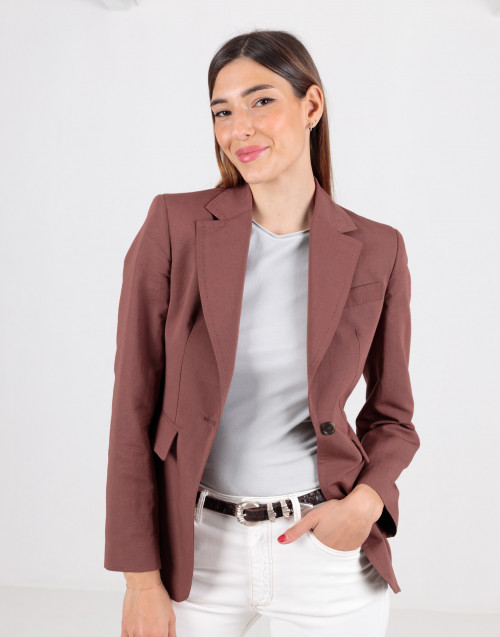 Blazer marrone in cotone e lino