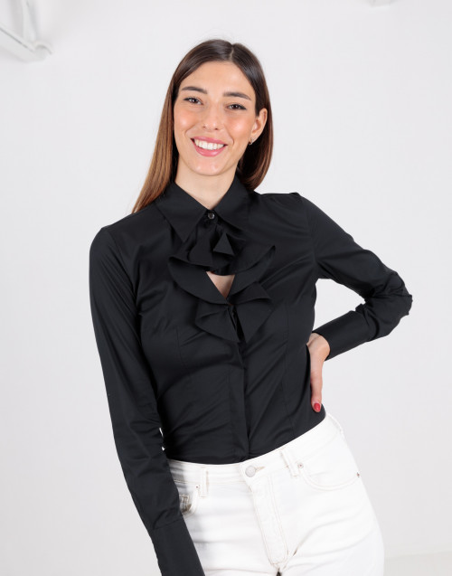Black shirt with ruffles