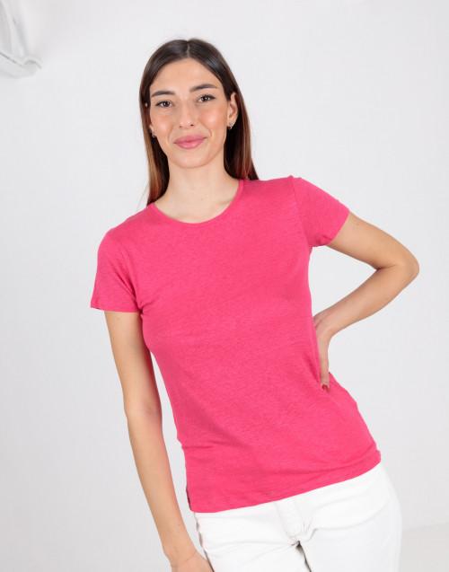Pink basic linen T-shirt