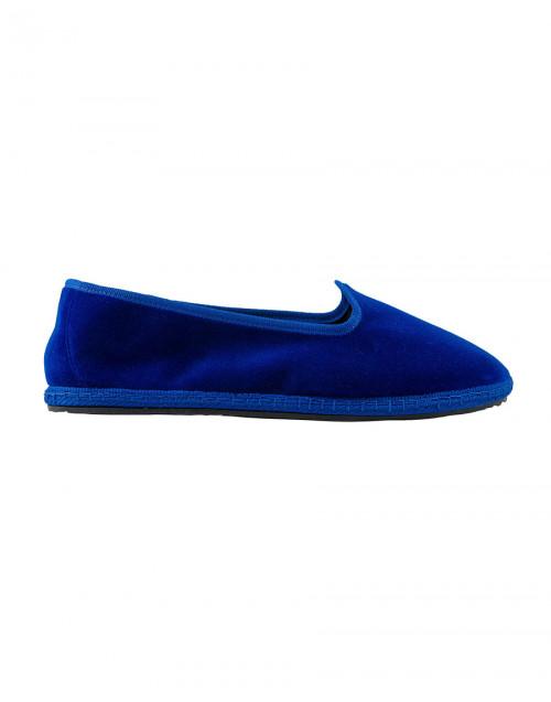 Lapis lazuli blue velvet slippers