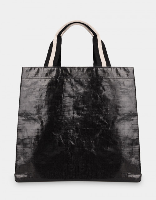 Shopping bag nera pelle