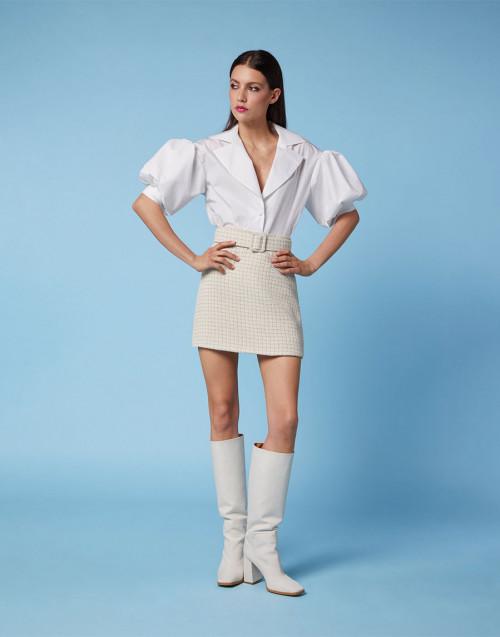 Ecru and beige tweed mini skirt