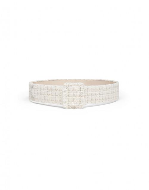 Ecru and beige tweed belt