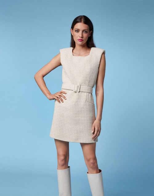 Beige ecru sleeveless sheath dress