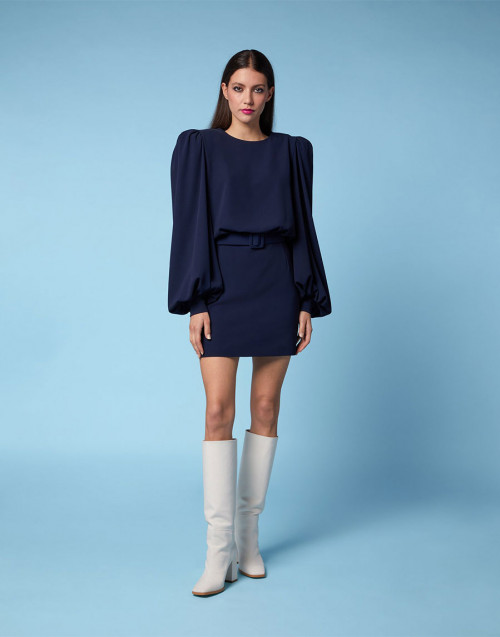 Blue crepe dress with wide sleeves