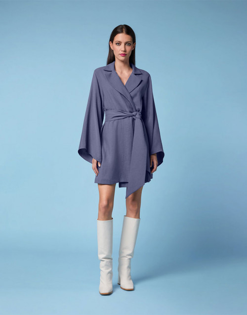 Baby blue linen dressing gown dress