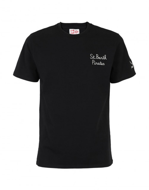 "Black T-shirt with ""St. Barth Pirates"" embroidery"