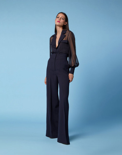Blue shirt with long sleeves in organza