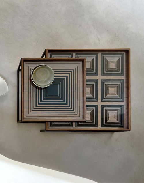 Vassoio quadrato grande vetro Linear Flow